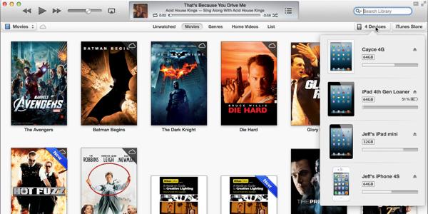 iTunes 11 Devices popover